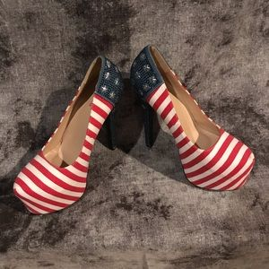 Shoes - USA American Flag Women High Heels Pump
